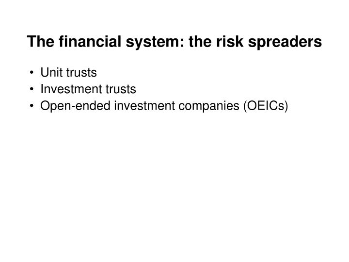 The financial system: the risk spreaders