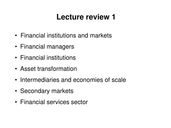 Lecture review 1