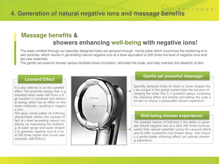 4. Generation of natural negative ions and massage benefits