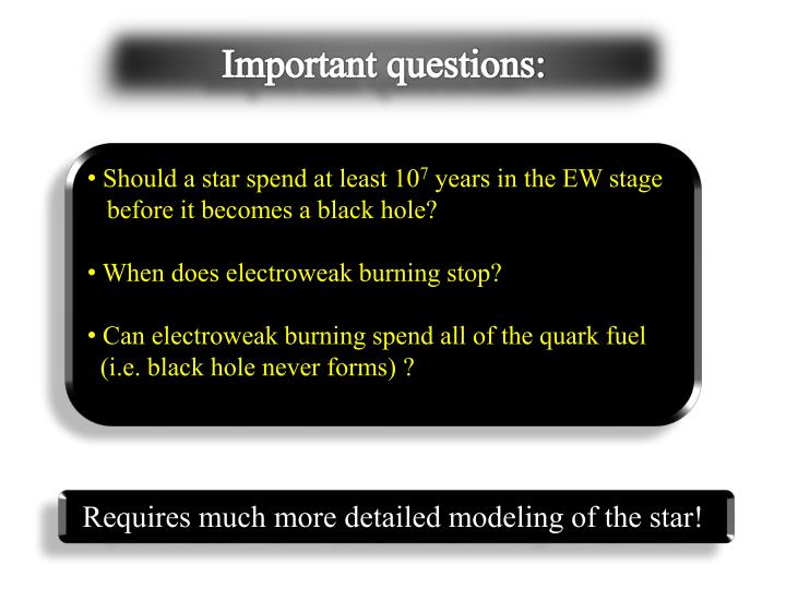 Important questions: