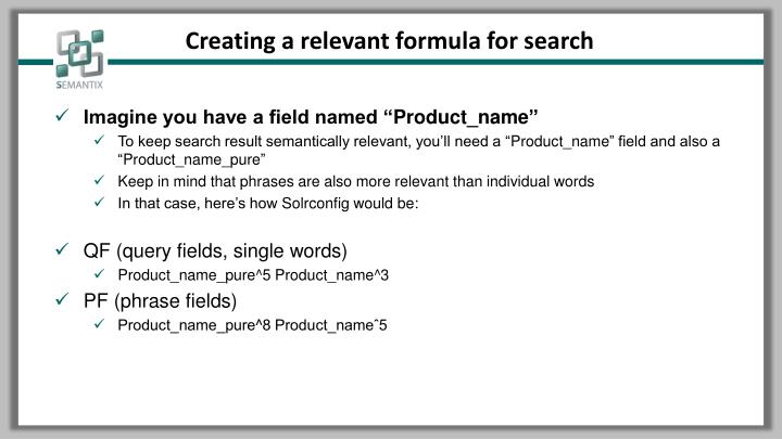 Creating a relevant formula for search