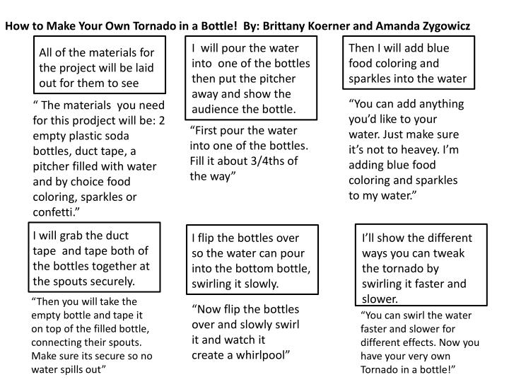 How to Make Your Own Tornado in a Bottle!  By: Brittany