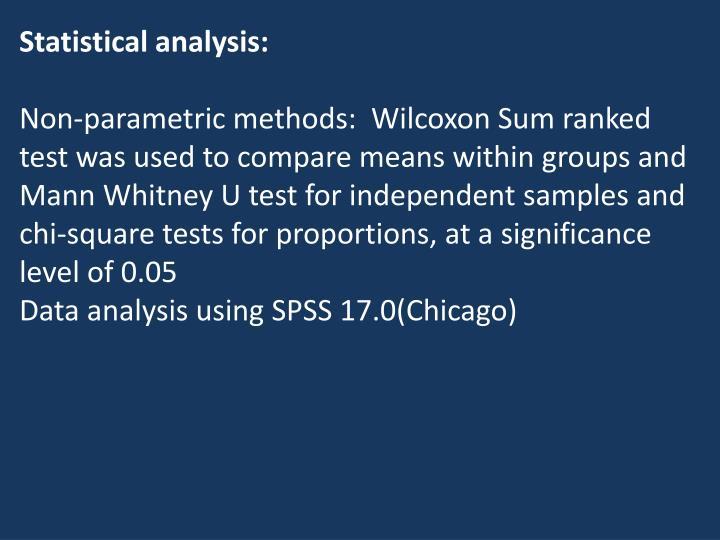 Statistical analysis: