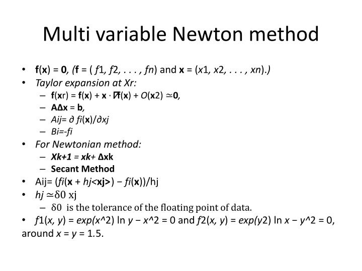 Multi variable Newton method