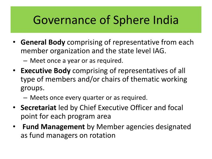 Governance of Sphere India