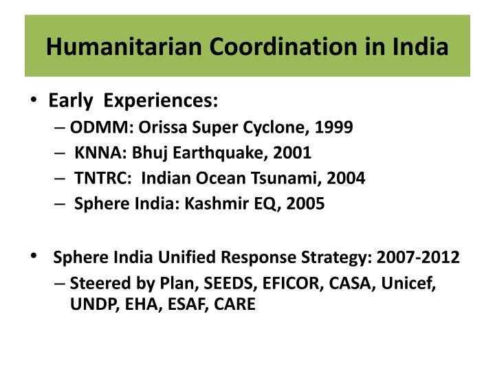 Humanitarian Coordination in India