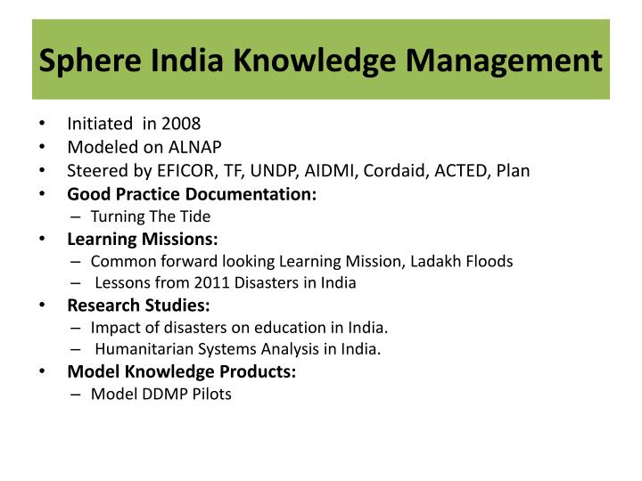 Sphere India Knowledge Management