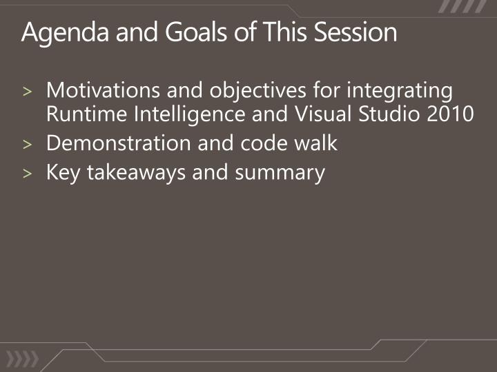 Agenda and goals of this session