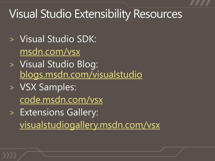 Visual Studio Extensibility Resources