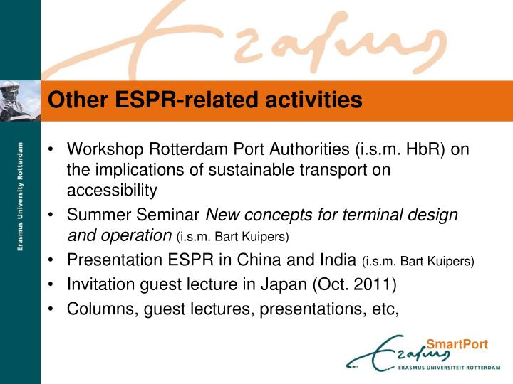 Other ESPR-related activities