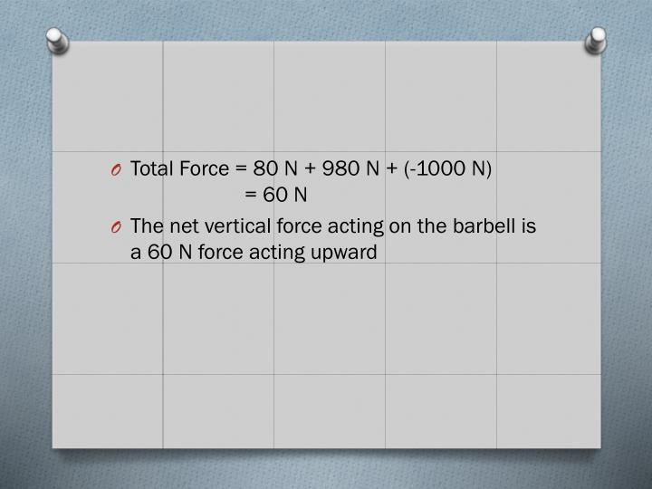 Total Force = 80 N + 980 N + (-1000 N)