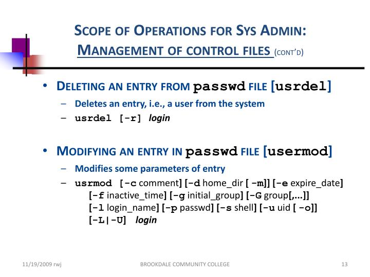 Scope of Operations for Sys Admin: