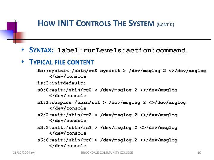 How INIT Controls