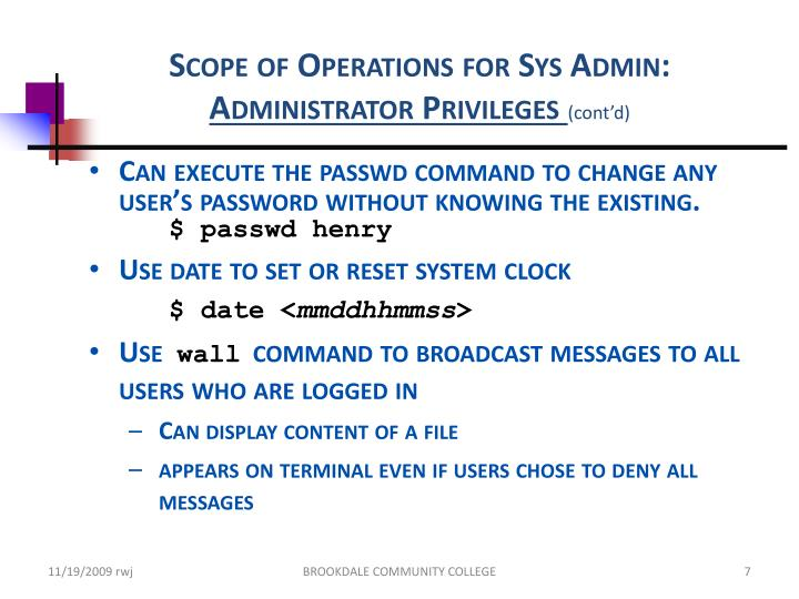 Scope of Operations for Sys Admin