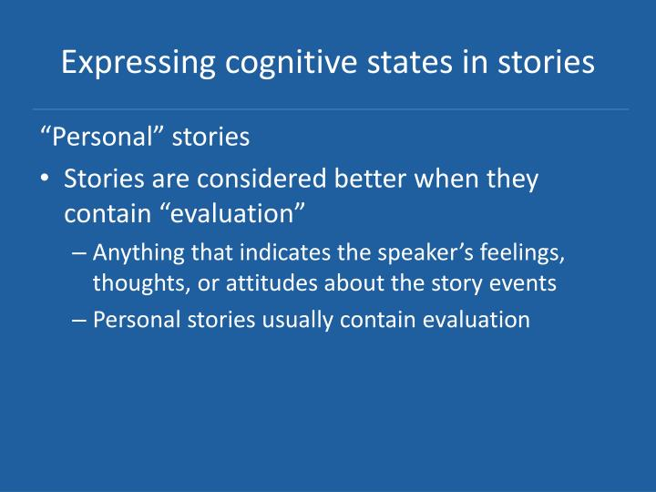 Expressing cognitive states in stories