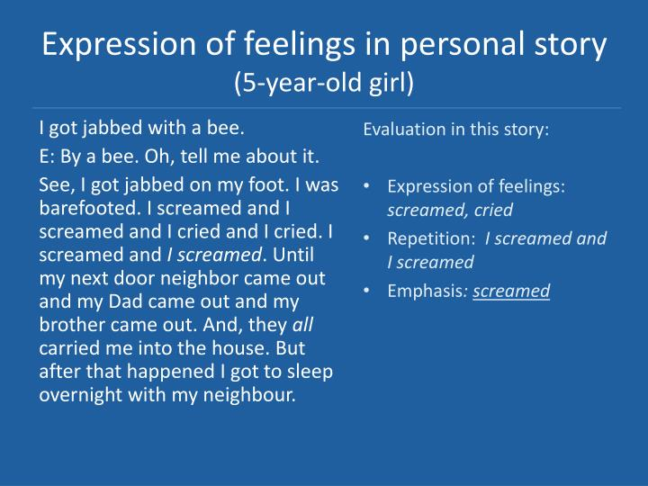 Expression of feelings in personal story