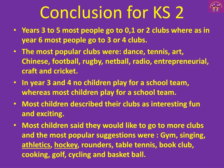 Conclusion for KS 2