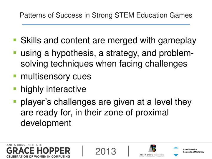 Patterns of Success in Strong STEM Education Games