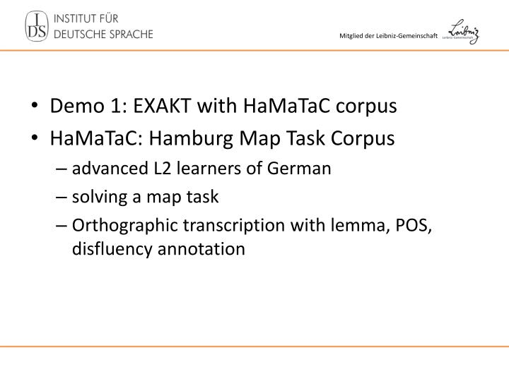 Demo 1: EXAKT with HaMaTaC corpus