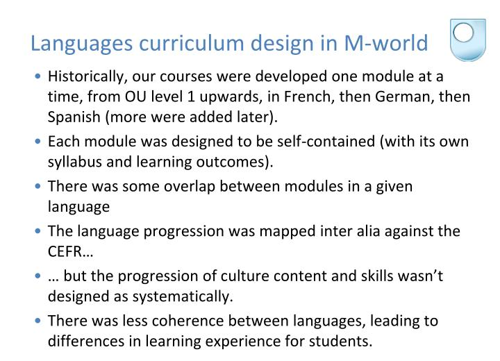 Languages curriculum design