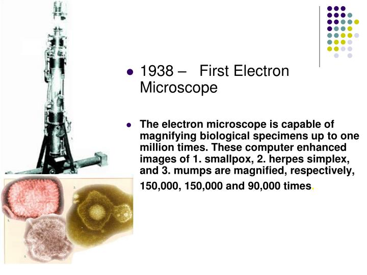 1938 –   First Electron Microscope