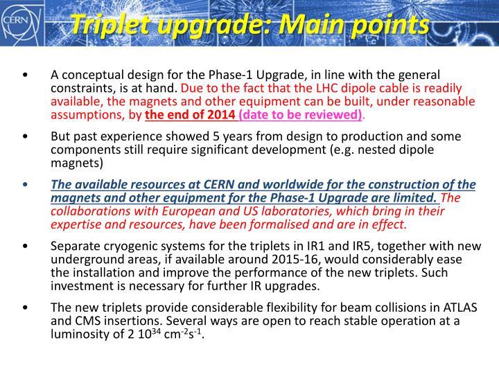 Triplet upgrade: Main