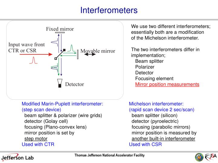 We use two different interferometers;