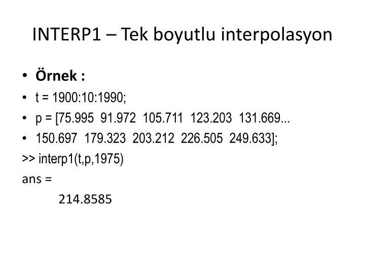 INTERP1 – Tek boyutlu