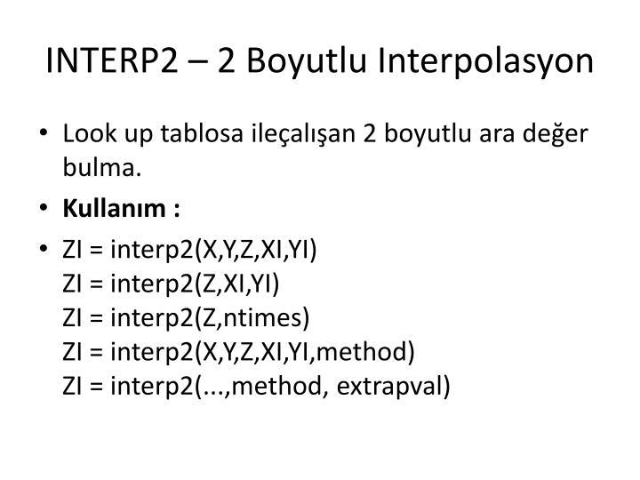 INTERP2 – 2 Boyutlu