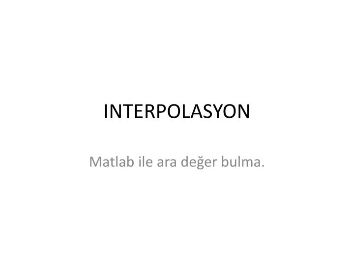 Interpolasyon