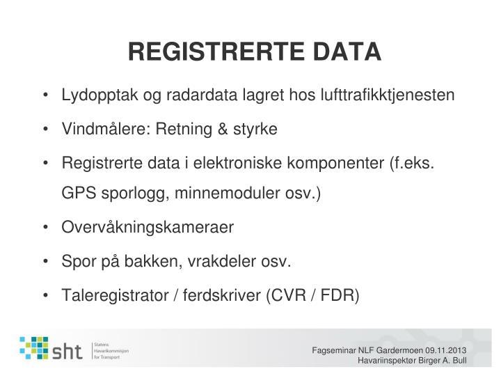REGISTRERTE DATA