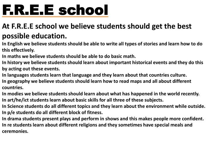 F.R.E.E school