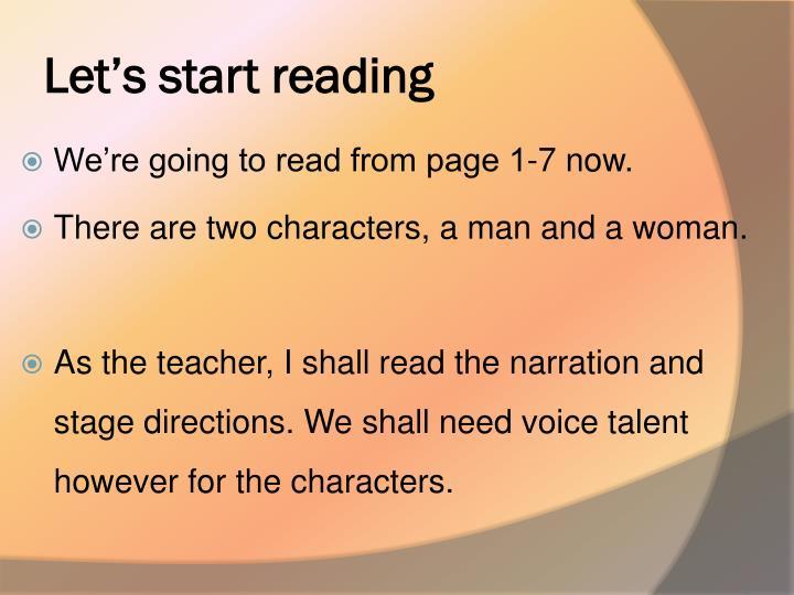 Let's start reading