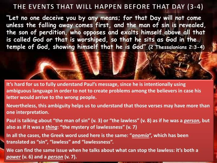 THE EVENTS THAT WILL HAPPEN BEFORE THAT DAY