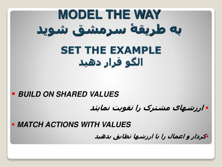 MODEL THE WAY