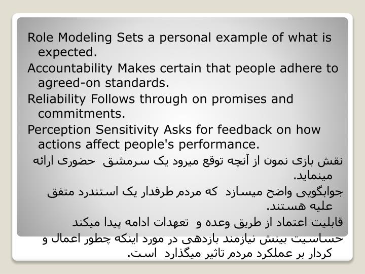 Role Modeling Sets a personal example of what is expected.