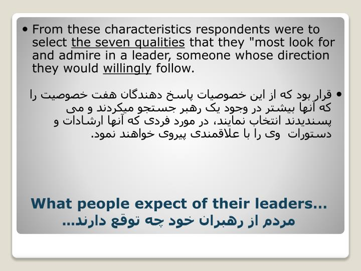 From these characteristics respondents were to select