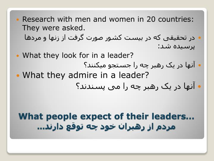 Research with men and women in 20 countries: They were asked.