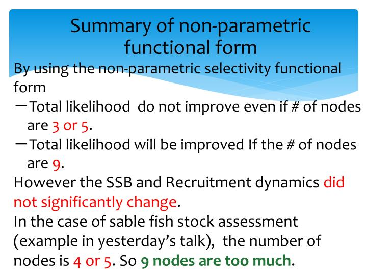 Summary of non-parametric functional form