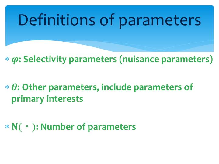 Definitions of parameters