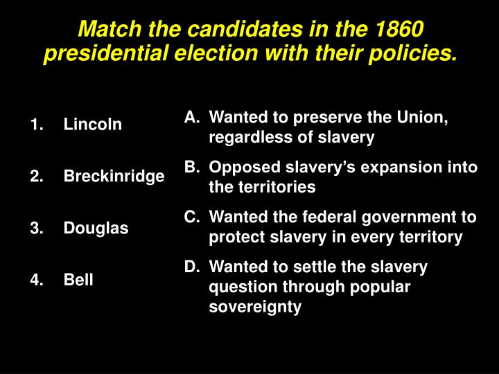 Match the candidates in the 1860 presidential election with their policies.