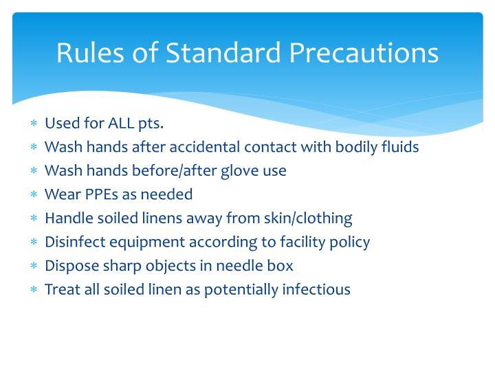 Rules of Standard Precautions