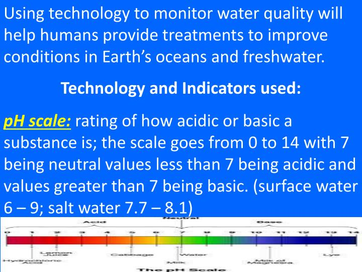 Using technology to monitor water quality will help humans provide treatments to improve conditions in Earth's oceans and freshwater.