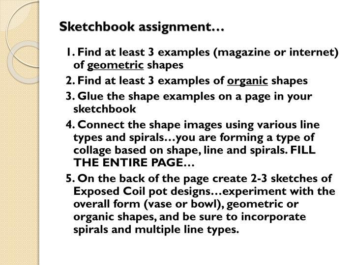 Sketchbook assignment…