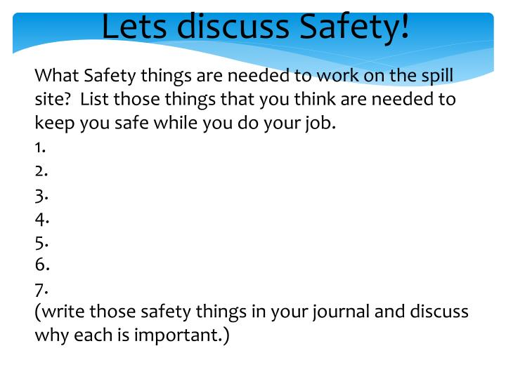 Lets discuss Safety!