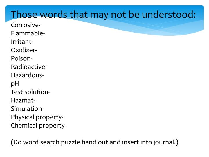 Those words that may not be understood: