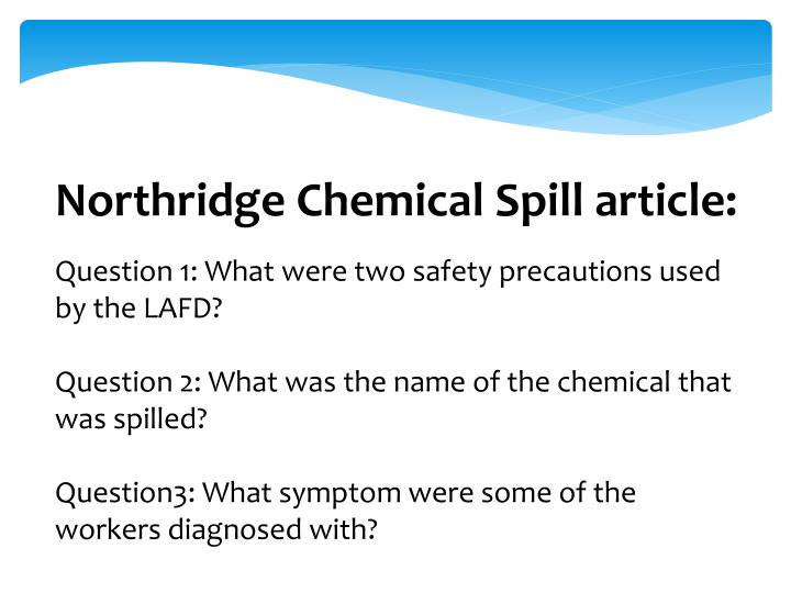 Northridge Chemical Spill article: