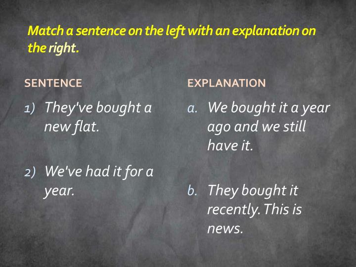 Match a sentence on the left with an explanation on the
