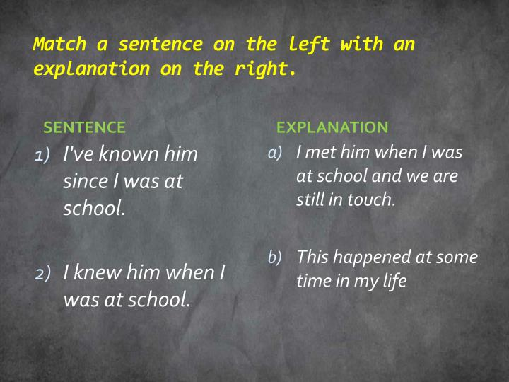 Match a sentence on the left with an explanation on the right.