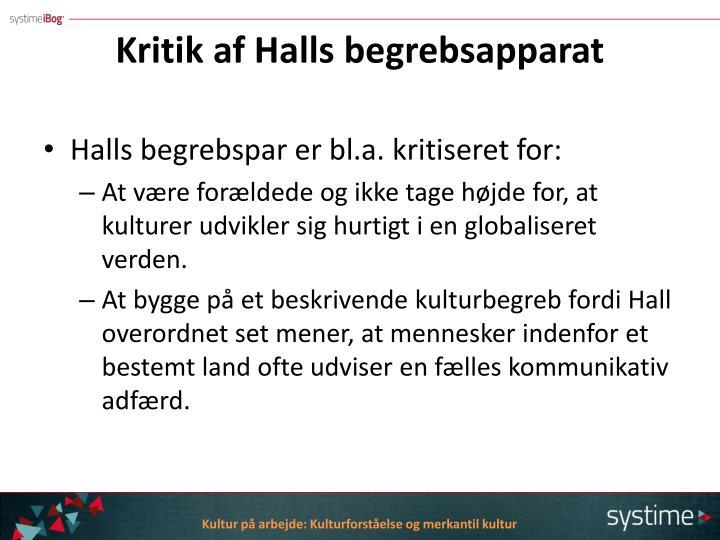 Kritik af Halls begrebsapparat